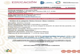 VACANTE Médico General Ext. Iliatenco